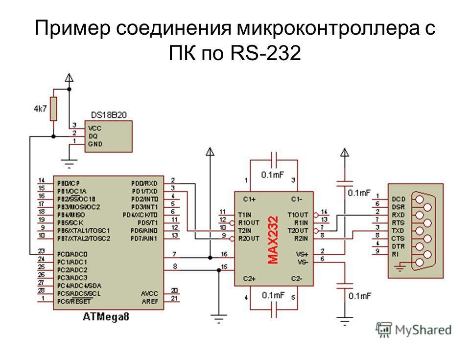 Пример соединения микроконтроллера с ПК по RS-232