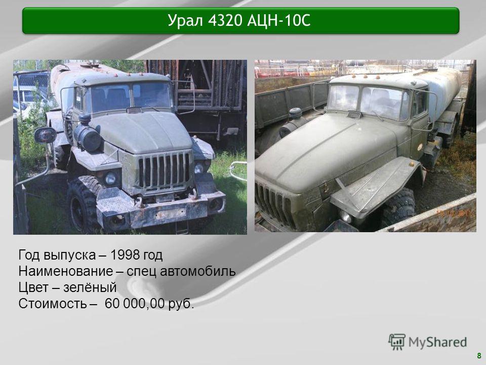 8 Урал 4320 АЦН-10С Год выпуска – 1998 год Наименование – спец автомобиль Цвет – зелёный Стоимость – 60 000,00 руб.