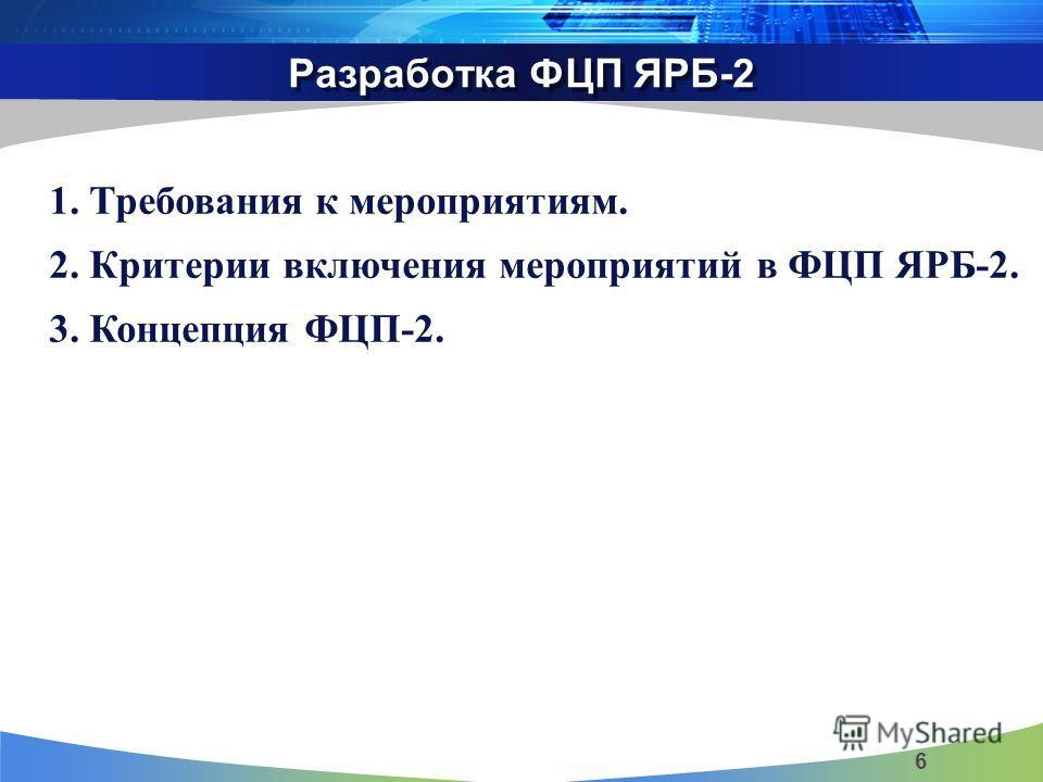 Разработка ФЦП ЯРБ-2 6 1. Требования к мероприятиям. 2. Критерии включения мероприятий в ФЦП ЯРБ-2. 3. Концепция ФЦП-2.