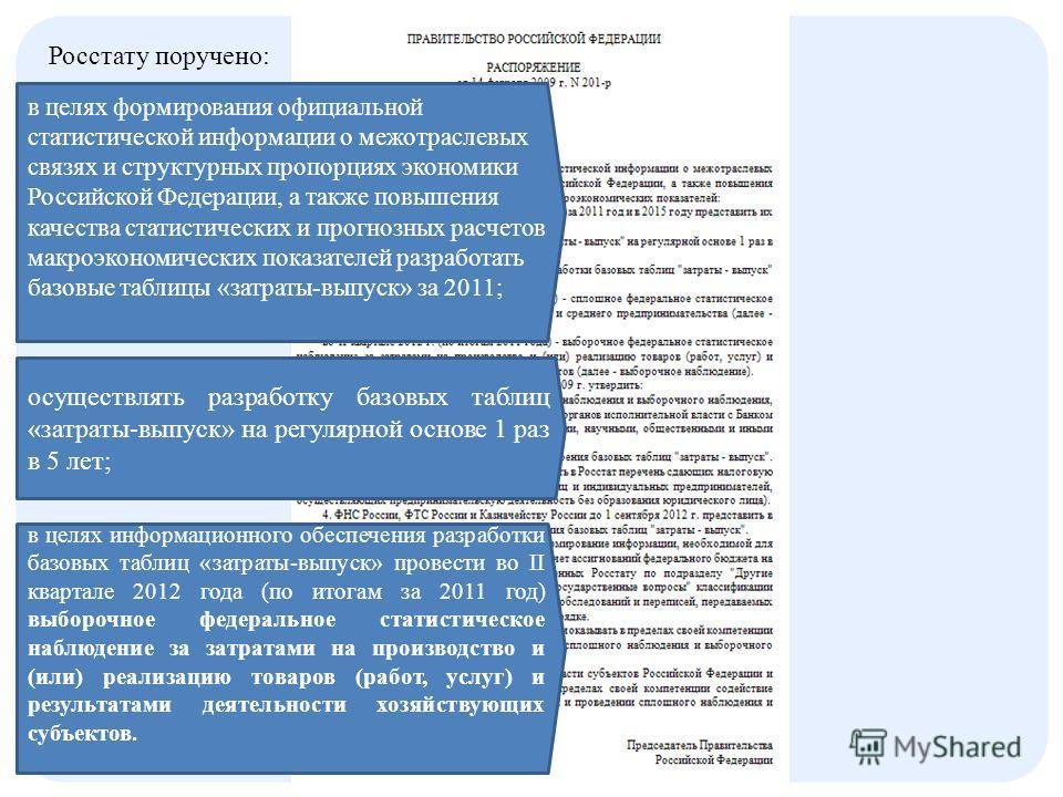 Росстату поручено: в целях формирования официальной статистической информации о межотраслевых связях и структурных пропорциях экономики Российской Федерации, а также повышения качества статистических и прогнозных расчетов макроэкономических показател