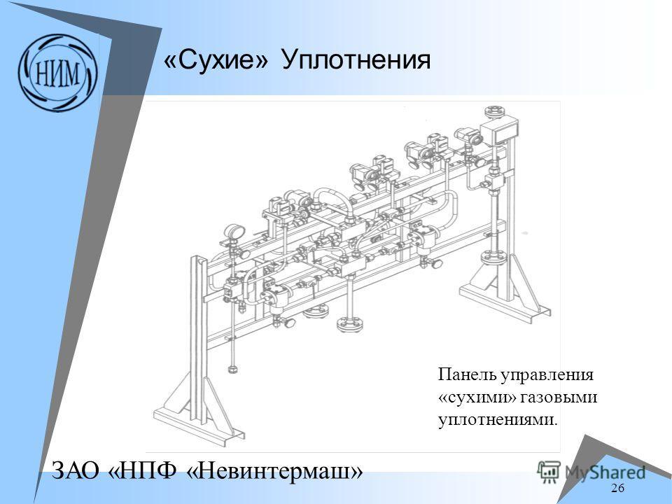 ЗАО «НПФ «Невинтермаш» 26 «Сухие» Уплотнения Панель управления «сухими» газовыми уплотнениями.