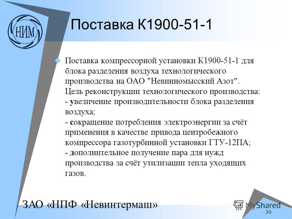 ЗАО «НПФ «Невинтермаш» 30 Поставка К1900-51-1 Поставка компрессорной установки К1900-51-1 для блока разделения воздуха технологического производства на ОАО