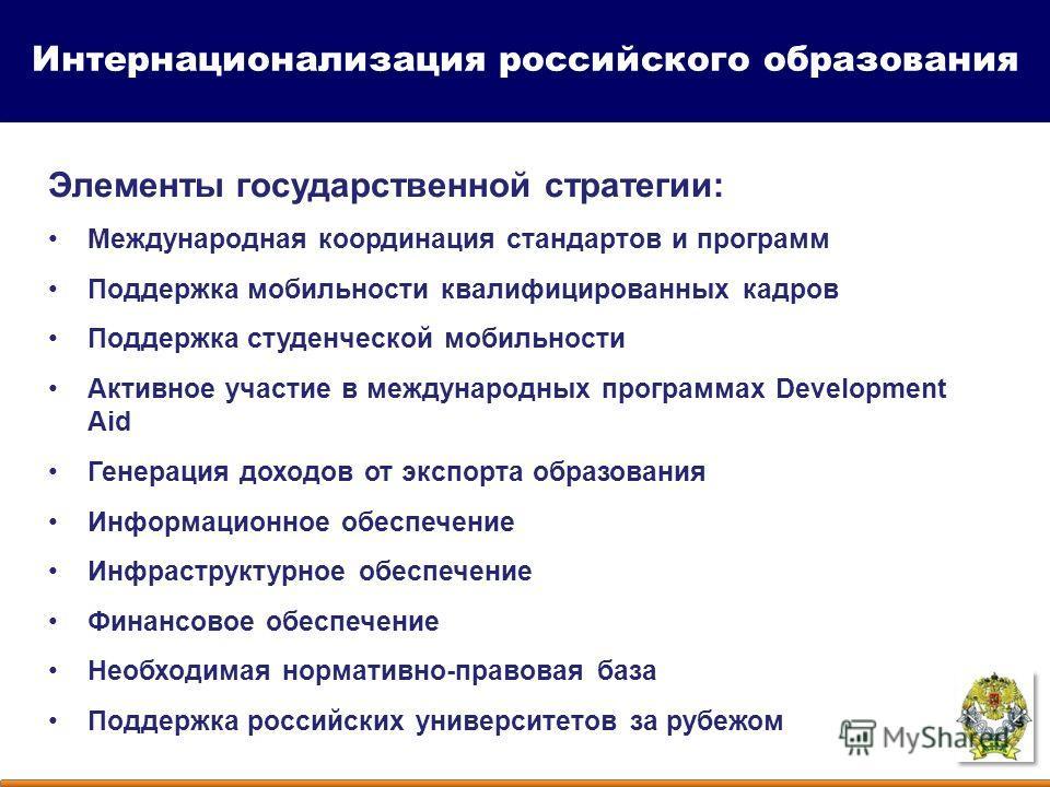 Элементы государственной стратегии: Международная координация стандартов и программ Поддержка мобильности квалифицированных кадров Поддержка студенческой мобильности Активное участие в международных программах Development Aid Генерация доходов от экс