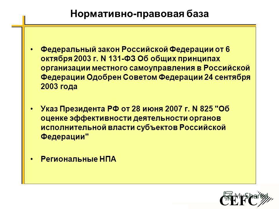 CEFC Нормативно-правовая база Федеральный закон Российской Федерации от 6 октября 2003 г. N 131-ФЗ Об общих принципах организации местного самоуправления в Российской Федерации Одобрен Советом Федерации 24 сентября 2003 года Указ Президента РФ от 28