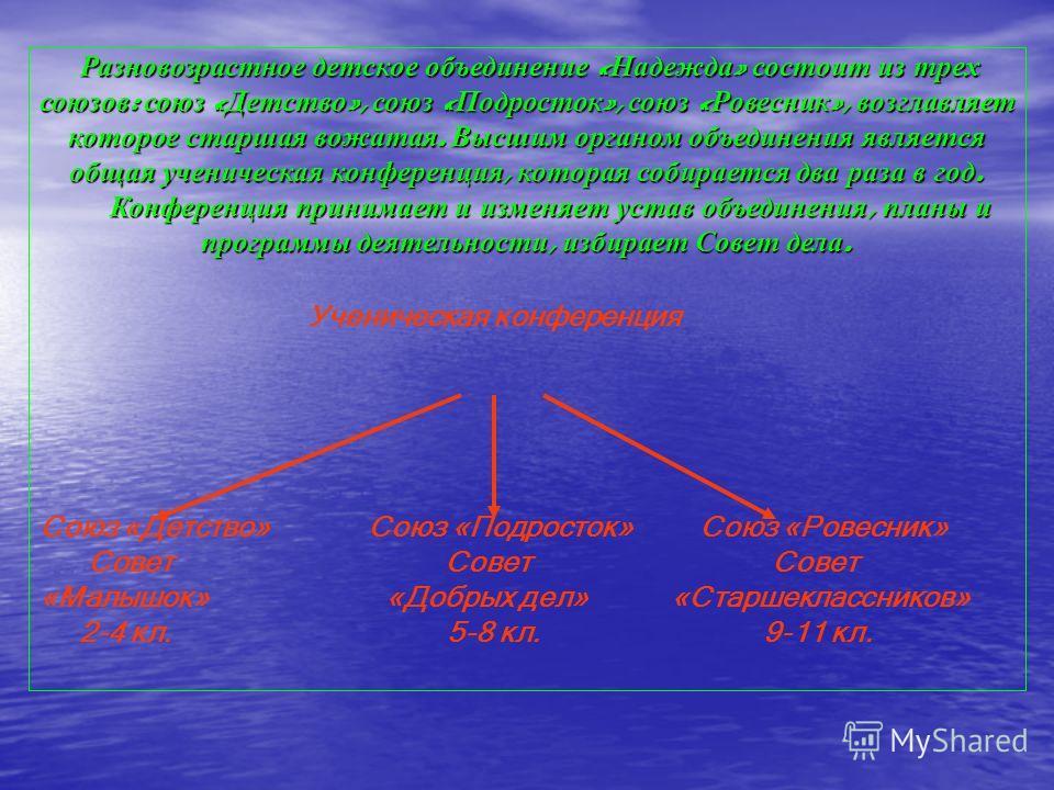 Р РР Разновозрастное детское объединение «Надежда» состоит из трех союзов: союз «Детство», союз «Подросток», союз «Ровесник», возглавляет которое старшая вожатая. Высшим органом объединения является общая ученическая конференция, которая собирается д
