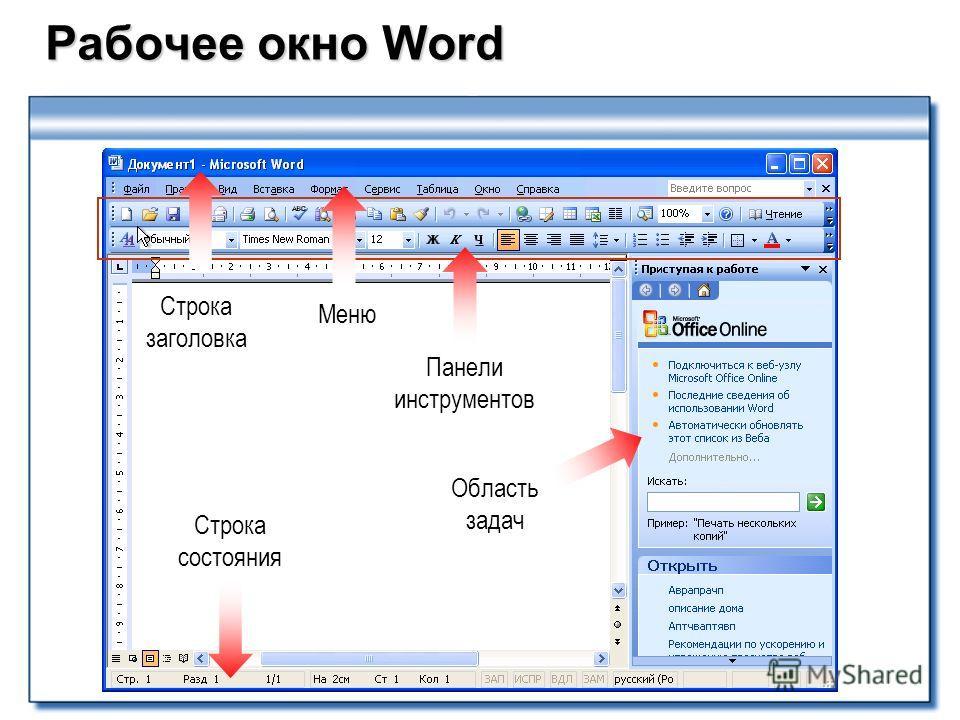 Рабочее окно Word Рабочее окно Word Строка заголовка Меню Панели инструментов Строка состояния Область задач