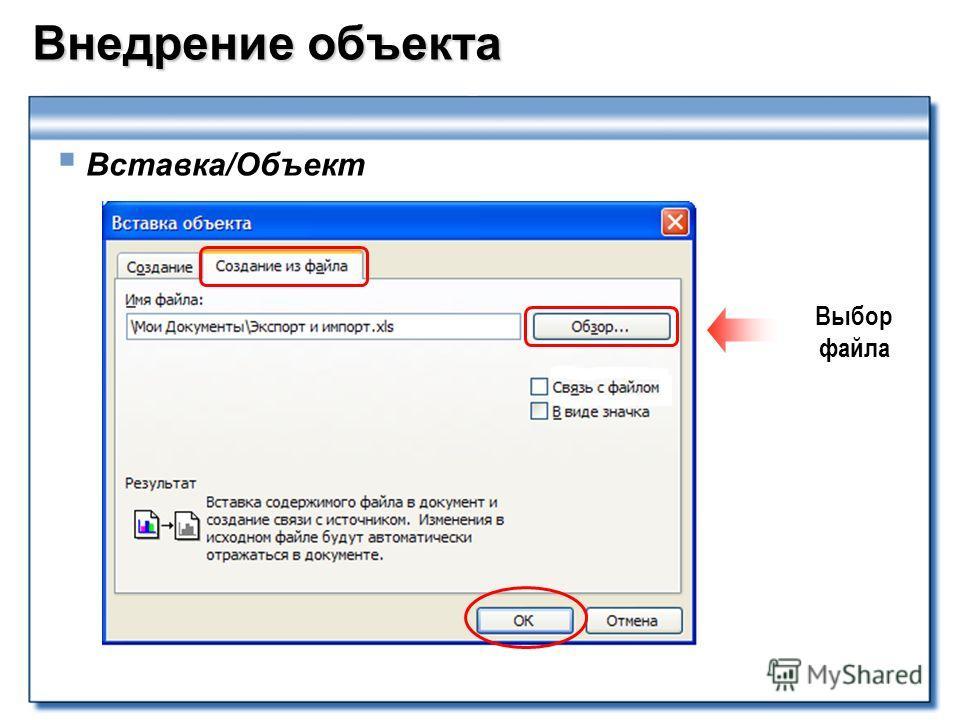 Внедрение объекта Вставка/Объект Выбор файла