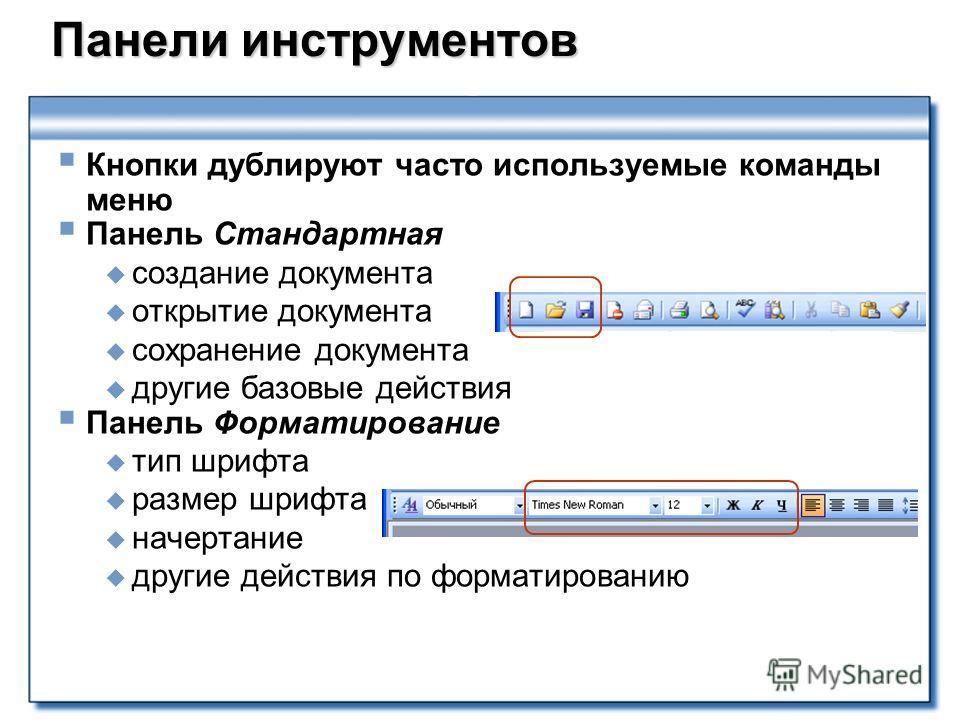 Панели инструментов Панели инструментов Кнопки дублируют часто используемые команды меню Панель Стандартная создание документа открытие документа сохранение документа другие базовые действия Панель Форматирование тип шрифта размер шрифта начертание д