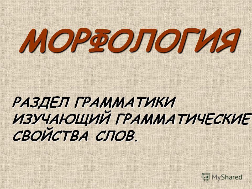МОРФОЛОГИЯ РАЗДЕЛ ГРАММАТИКИ ИЗУЧАЮЩИЙ ГРАММАТИЧЕСКИЕ СВОЙСТВА СЛОВ.