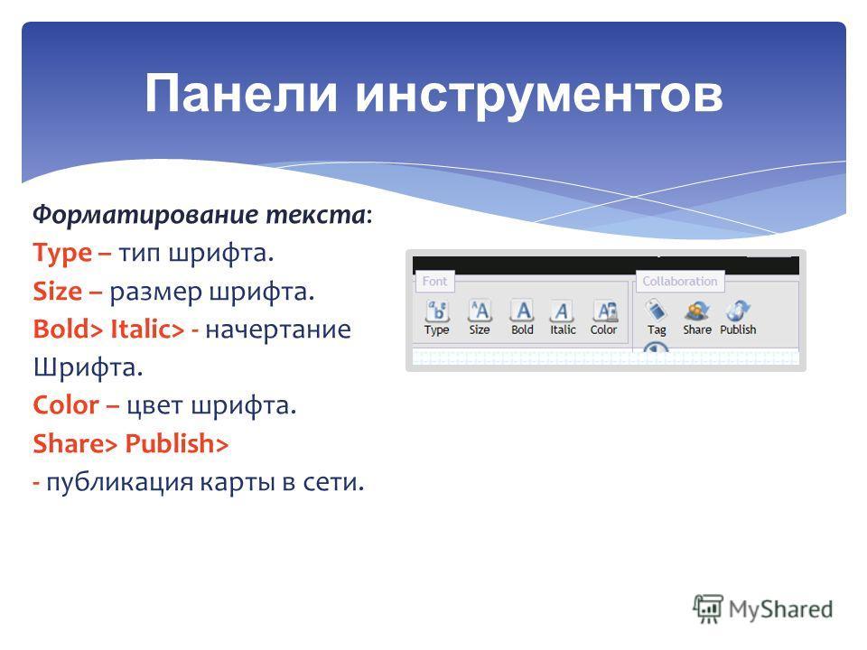 Панели инструментов Форматирование текста: Type – тип шрифта. Size – размер шрифта. Bold> Italic> - начертание Шрифта. Color – цвет шрифта. Share> Publish> - публикация карты в сети.