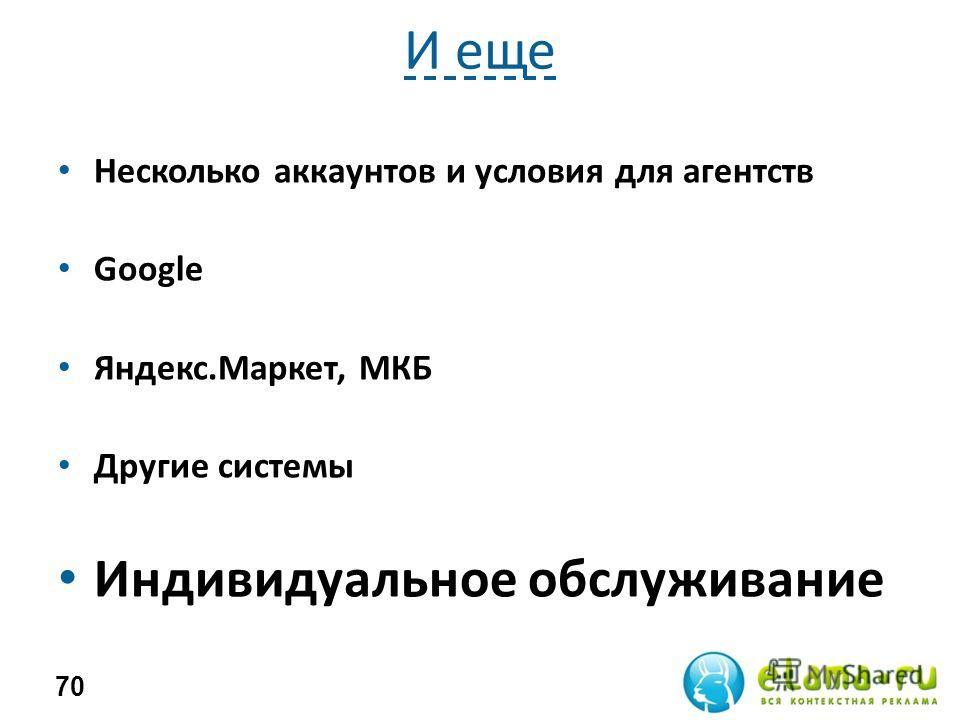 И еще Несколько аккаунтов и условия для агентств Google Яндекс.Маркет, МКБ Другие системы Индивидуальное обслуживание 70