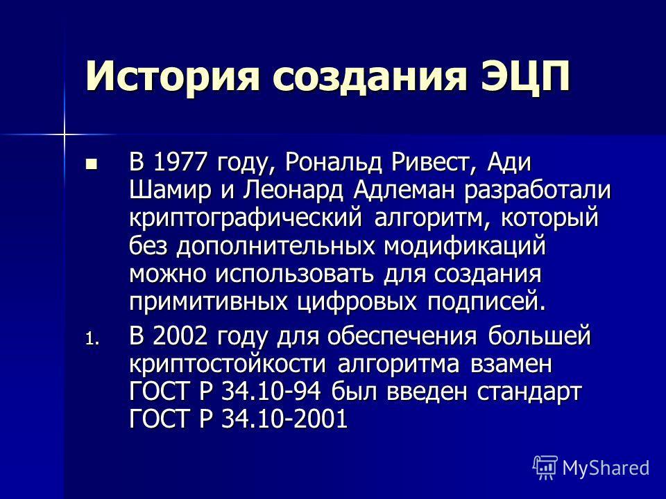История создания ЭЦП В 1977 году, Рональд Ривест, Ади Шамир и Леонард Адлеман разработали криптографический алгоритм, который без дополнительных модификаций можно использовать для создания примитивных цифровых подписей. В 1977 году, Рональд Ривест, А