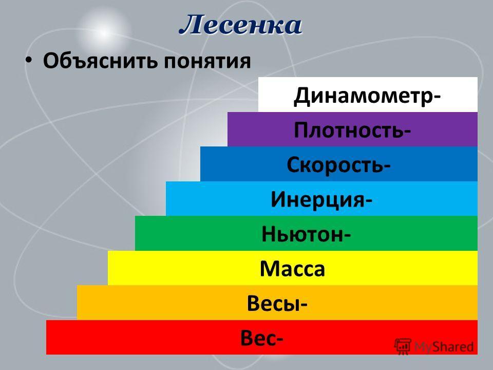 Лесенка Объяснить понятия Вес- Весы- Масса Скорость- Ньютон- Инерция- Плотность- Динамометр-
