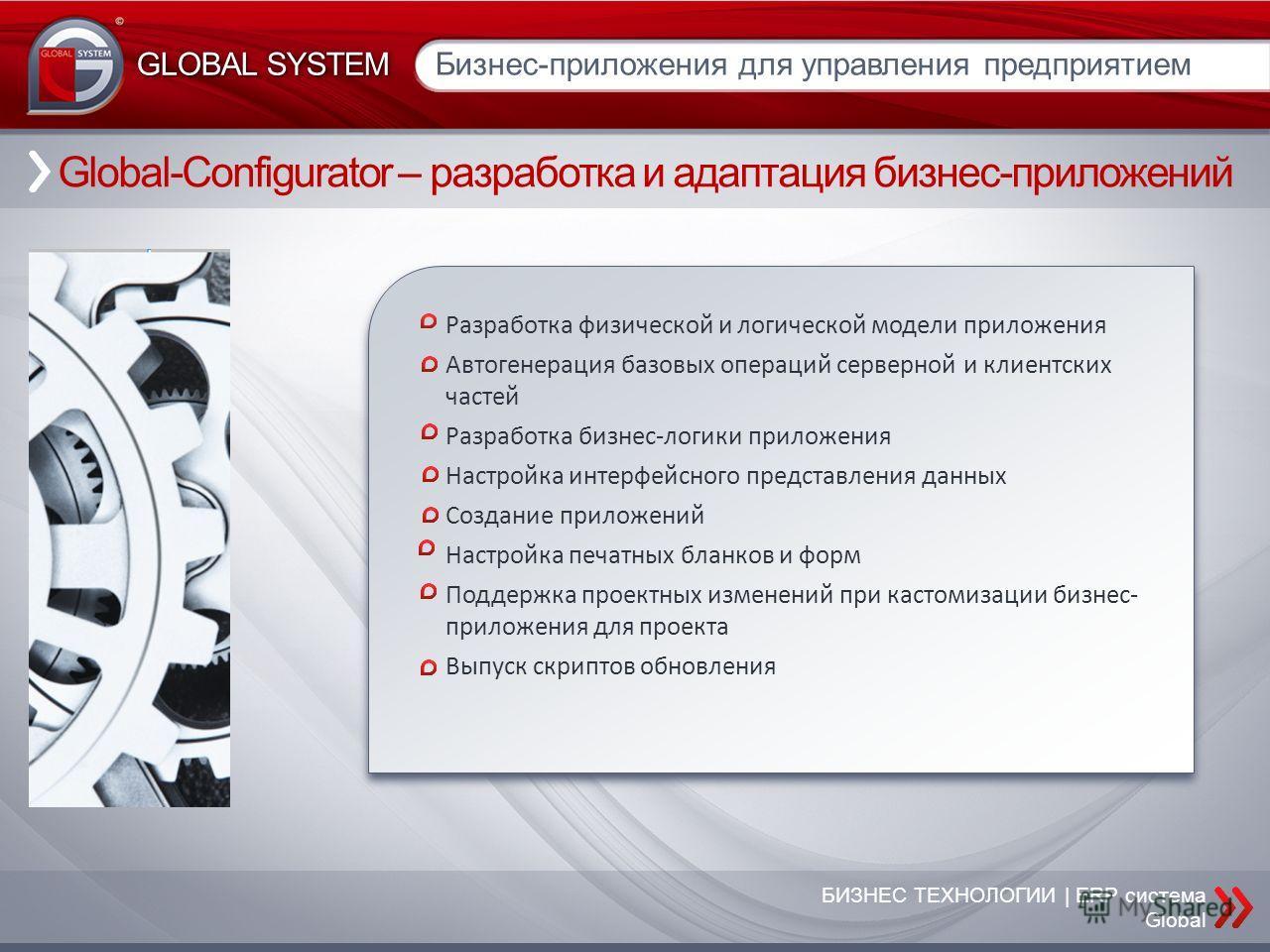 БИЗНЕС ТЕХНОЛОГИИ | ERP система Global Global-Configurator – разработка и адаптация бизнес-приложений Бизнес-приложения для управления предприятием GLOBAL SYSTEM Разработка физической и логической модели приложения Автогенерация базовых операций серв