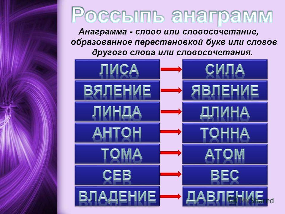 Анаграмма - слово или словосочетание, образованное перестановкой букв или слогов другого слова или словосочетания.