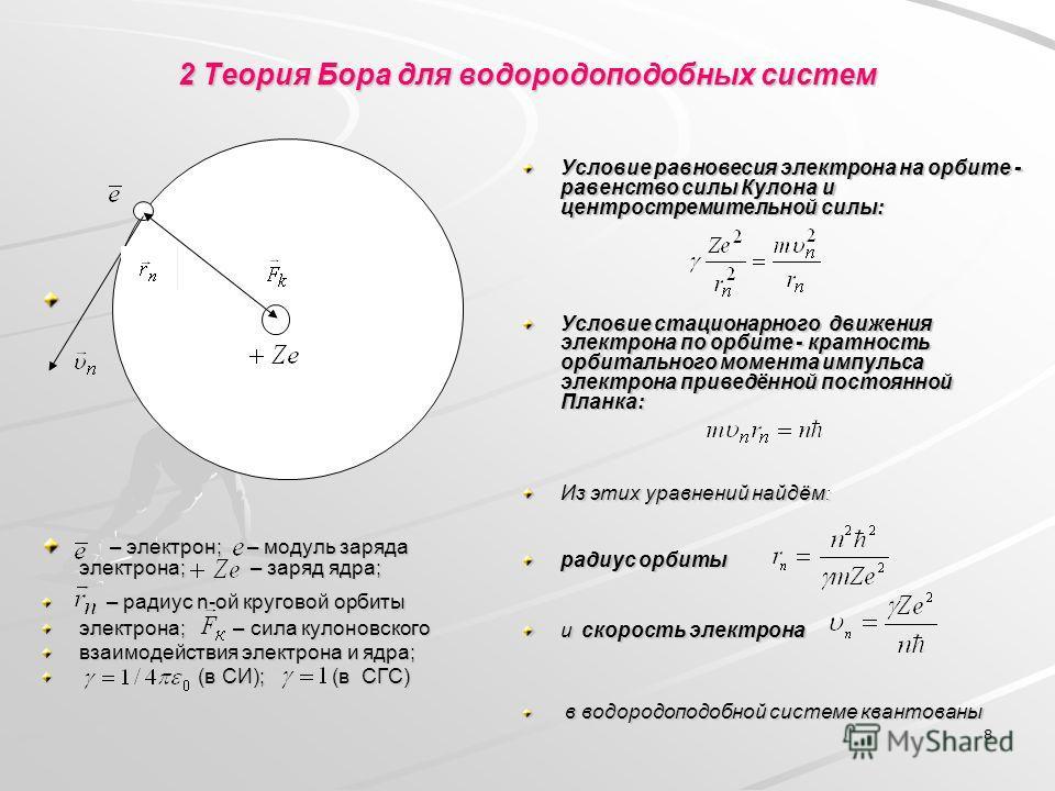 8 2 Теория Бора для водородоподобных систем – электрон; – модуль заряда электрона; – заряд ядра; – электрон; – модуль заряда электрона; – заряд ядра; – радиус n-ой круговой орбиты – радиус n-ой круговой орбиты электрона; – сила кулоновского взаимодей