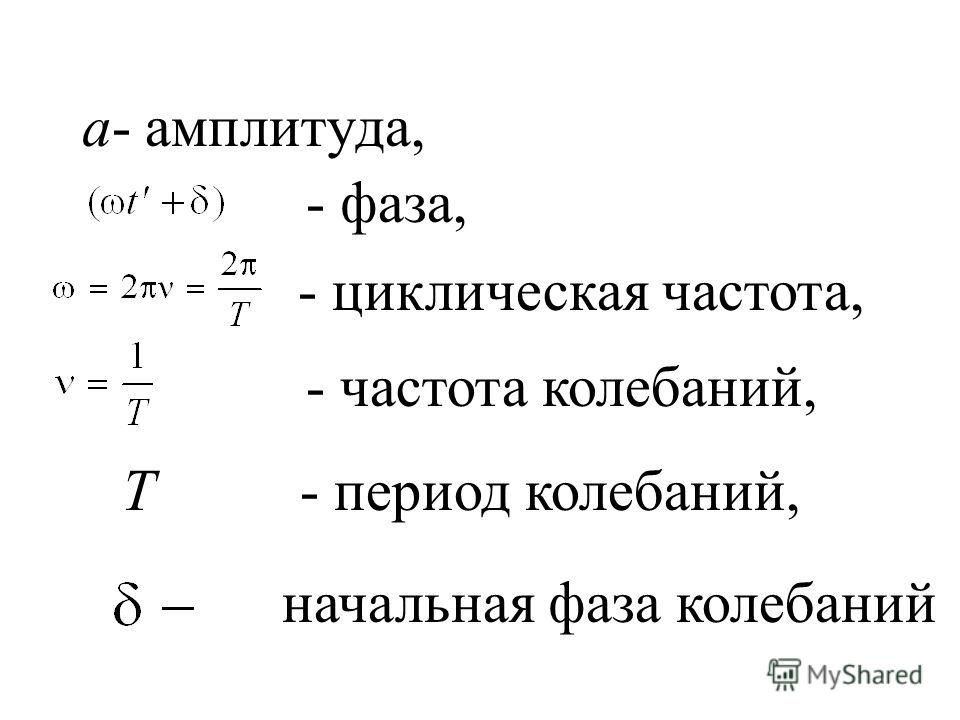 a- амплитуда, - фаза, - циклическая частота, - частота колебаний, T - период колебаний, начальная фаза колебаний