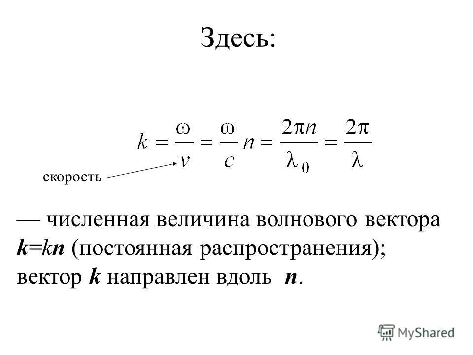 Здесь: численная величина волнового вектора k=kn (постоянная распространения); вектор k направлен вдоль n. скорость
