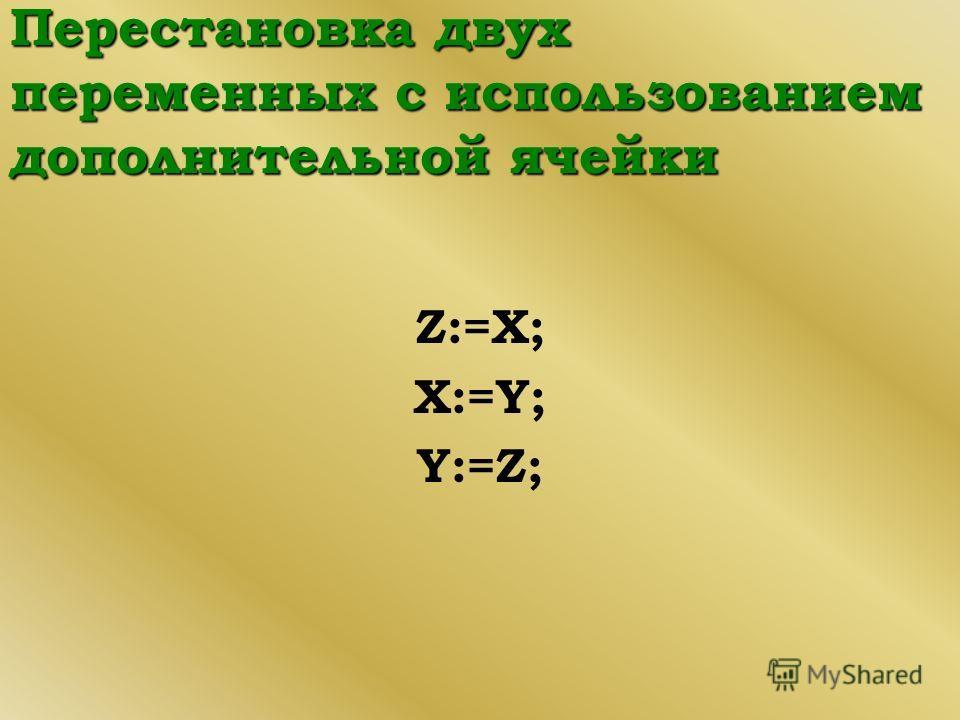 Перестановка двух переменных с использованием дополнительной ячейки Z:=X; X:=Y; Y:=Z;