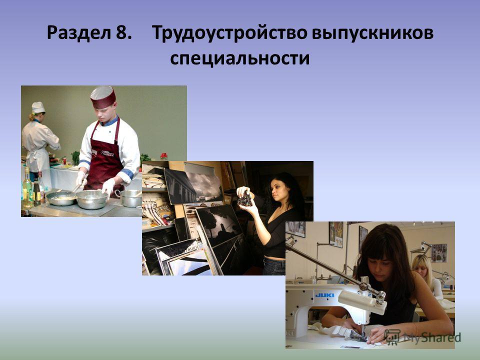 Раздел 8. Трудоустройство выпускников специальности