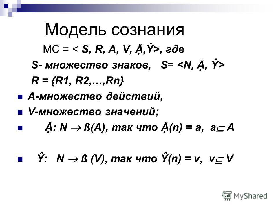 Модель сознания МС =, где S- множество знаков, S= R = {R1, R2,…,Rn} A-множество действий, V-множество значений; : N ß(A), так что (n) = a, a A Ŷ: N ß (V), так что Ŷ(n) = v, v V