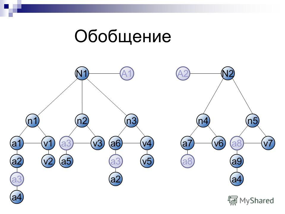 Обобщение a1v1 n1 a2 a3 v3 n2 a5 a6v4 n3 a7v6 n4 v7 n5 a9 a4 a2 v5v2 N1N2 a3 A1A2 a8a8 a8a8