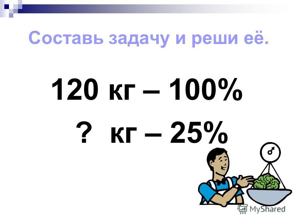Составь задачу и реши её. 120 кг – 100% ? кг – 25%