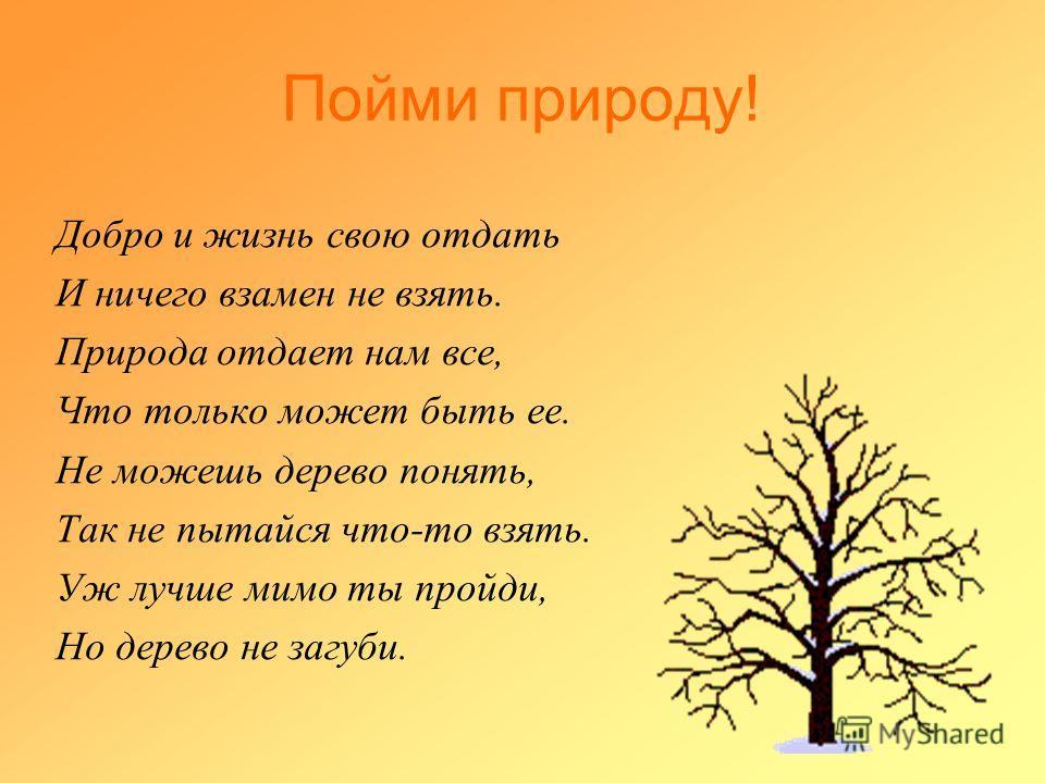 Пойми природу! Добро и жизнь свою отдать И ничего взамен не взять. Природа отдает нам все, Что только может быть ее. Не можешь дерево понять, Так не пытайся что-то взять. Уж лучше мимо ты пройди, Но дерево не загуби.