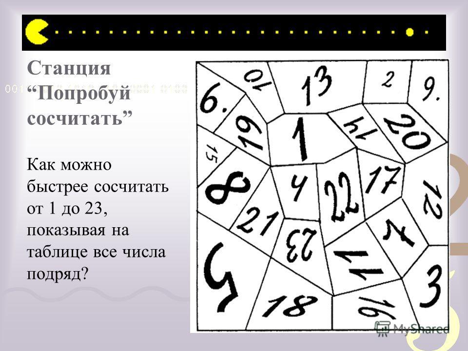 Станция Попробуй сосчитать Как можно быстрее сосчитать от 1 до 23, показывая на таблице все числа подряд?
