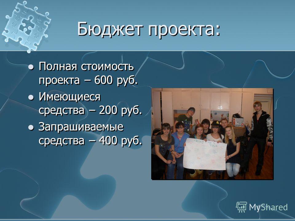 Бюджет проекта: Полная стоимость проекта – 600 руб. Имеющиеся средства – 200 руб. Запрашиваемые средства – 400 руб. Полная стоимость проекта – 600 руб. Имеющиеся средства – 200 руб. Запрашиваемые средства – 400 руб.
