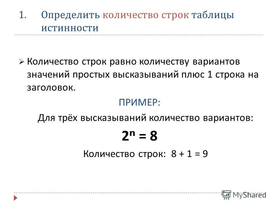 1.Определить количество строк таблицы истинности Количество строк равно количеству вариантов значений простых высказываний плюс 1 строка на заголовок. ПРИМЕР : Для трёх высказываний количество вариантов : 2 n = 8 Количество строк : 8 + 1 = 9