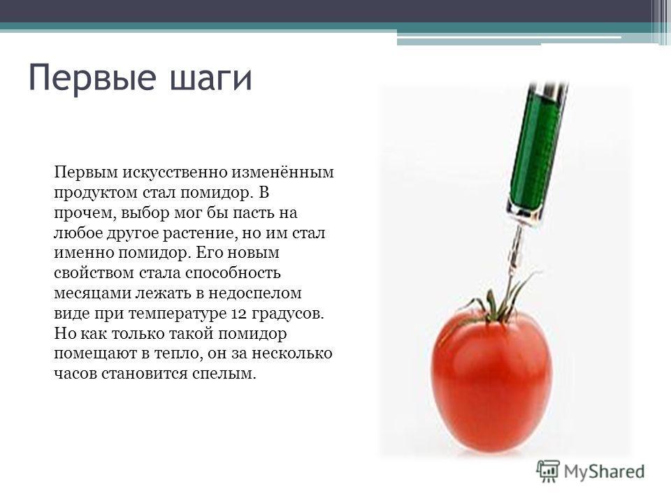 Первые шаги Первым искусственно изменённым продуктом стал помидор. В прочем, выбор мог бы пасть на любое другое растение, но им стал именно помидор. Его новым свойством стала способность месяцами лежать в недоспелом виде при температуре 12 градусов.