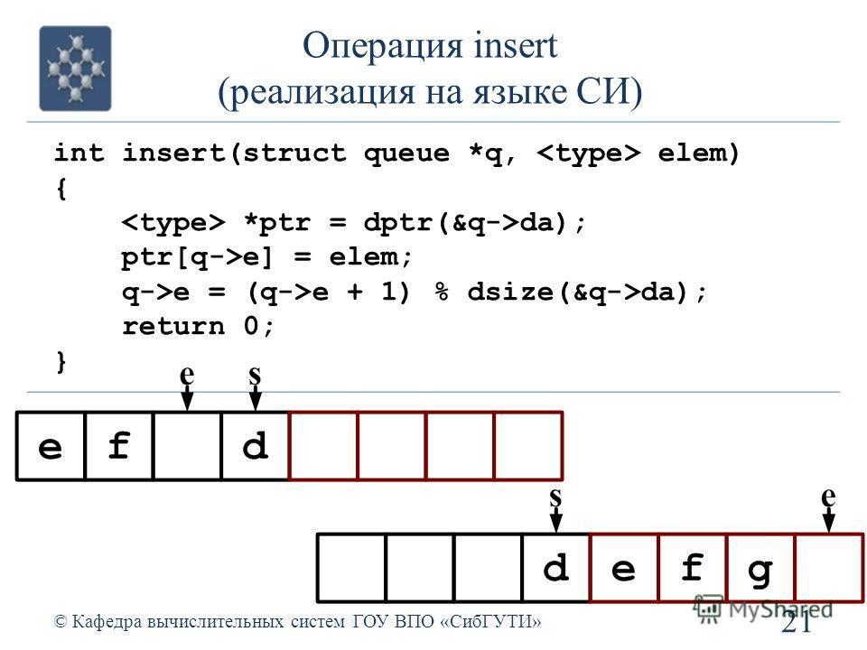 Операция insert (реализация на языке СИ) 21 © Кафедра вычислительных систем ГОУ ВПО «СибГУТИ» int insert(struct queue *q, elem) { *ptr = dptr(&q->da); ptr[q->e] = elem; q->e = (q->e + 1) % dsize(&q->da); return 0; }