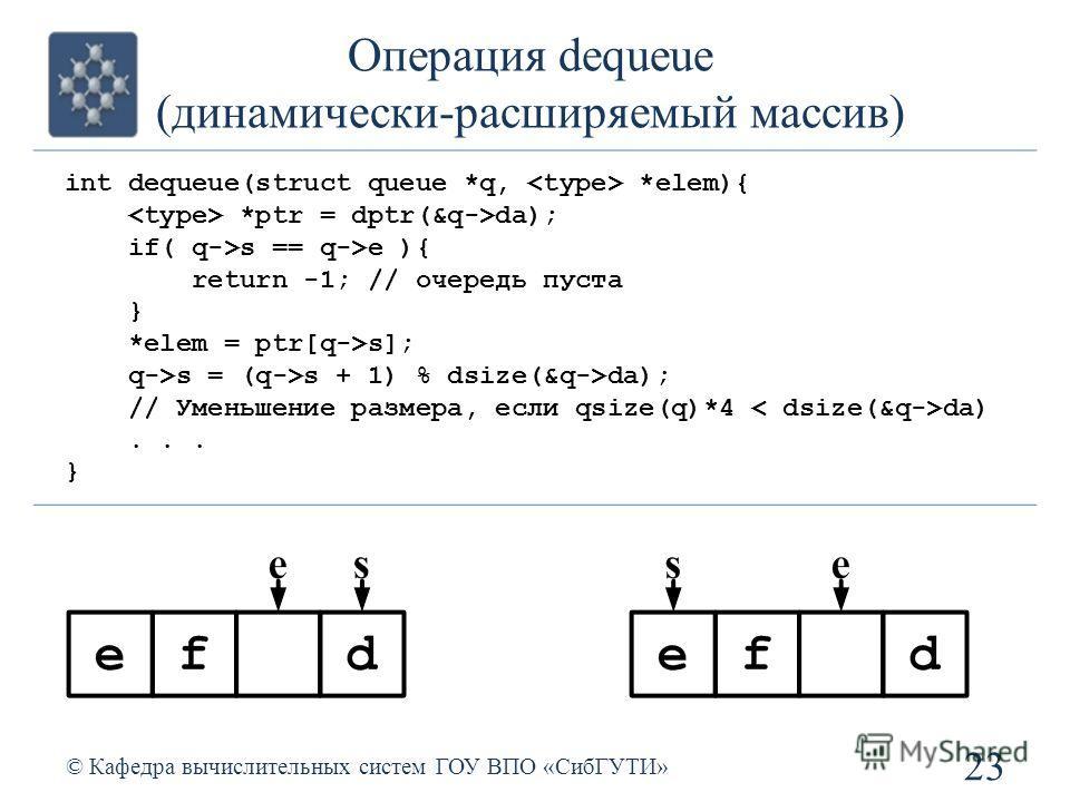 Операция dequeue (динамически-расширяемый массив) 23 © Кафедра вычислительных систем ГОУ ВПО «СибГУТИ» int dequeue(struct queue *q, *elem){ *ptr = dptr(&q->da); if( q->s == q->e ){ return -1; // очередь пуста } *elem = ptr[q->s]; q->s = (q->s + 1) %