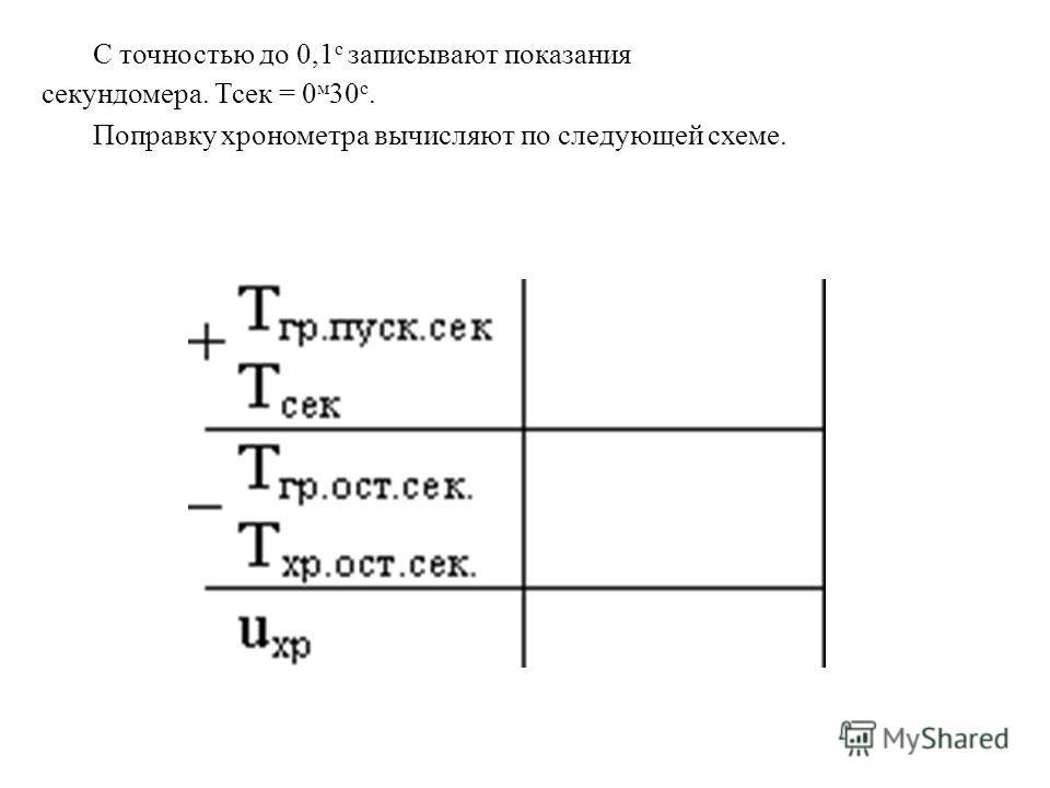 С точностью до 0,1 с записывают показания секундомера. Тсек = 0 м 30 с. Поправку хронометра вычисляют по следующей схеме.