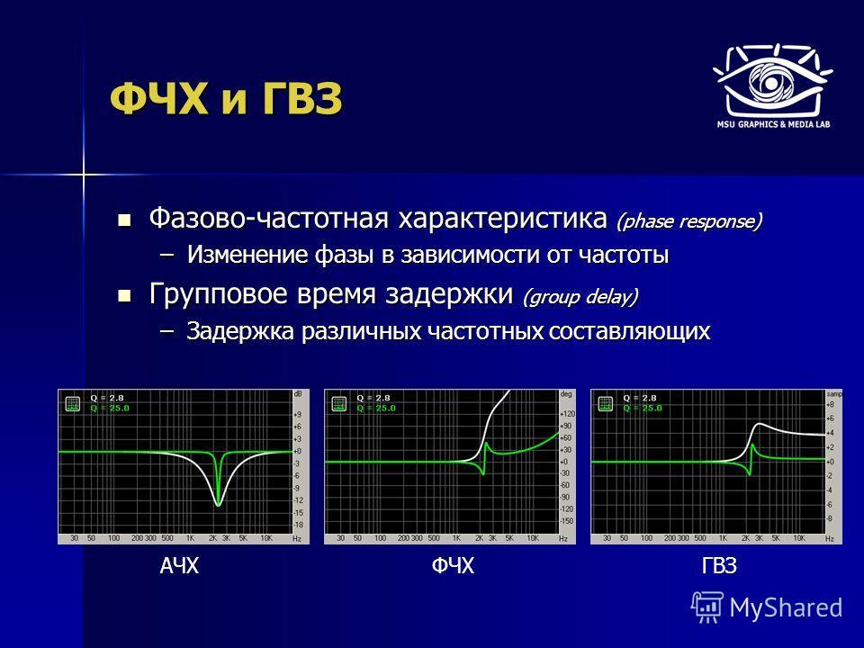 ФЧХ и ГВЗ Фазово-частотная характеристика (phase response) Фазово-частотная характеристика (phase response) –Изменение фазы в зависимости от частоты Групповое время задержки (group delay) Групповое время задержки (group delay) –Задержка различных час