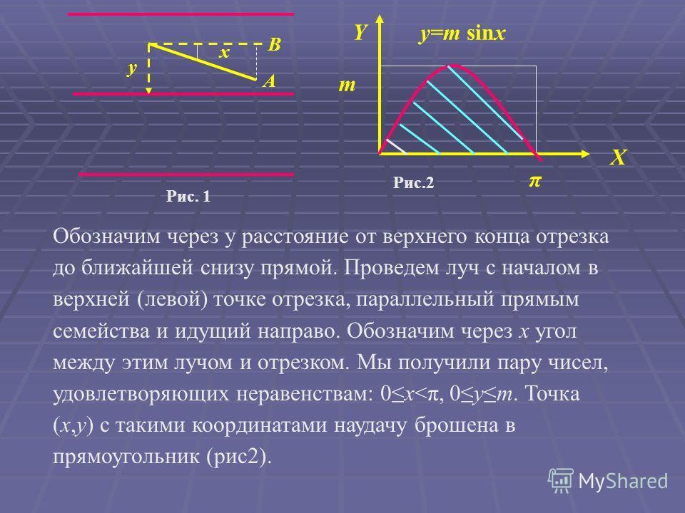Обозначим через y расстояние от верхнего конца отрезка до ближайшей снизу прямой. Проведем луч с началом в верхней (левой) точке отрезка, параллельный прямым семейства и идущий направо. Обозначим через x угол между этим лучом и отрезком. Мы получили