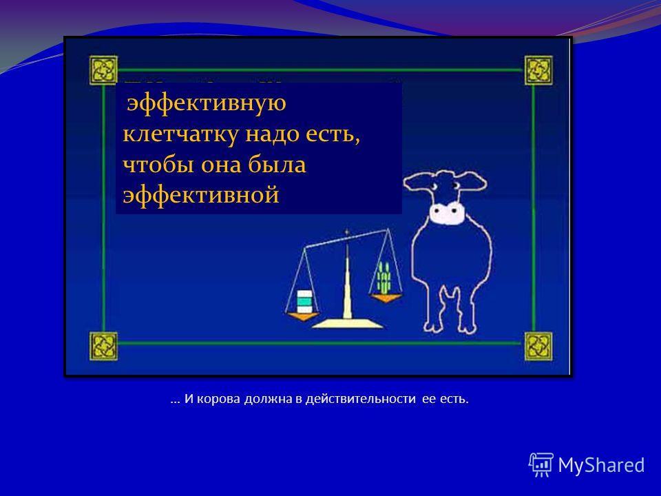 ... И корова должна в действительности ее есть. эффективную клетчатку надо есть, чтобы она была эффективной