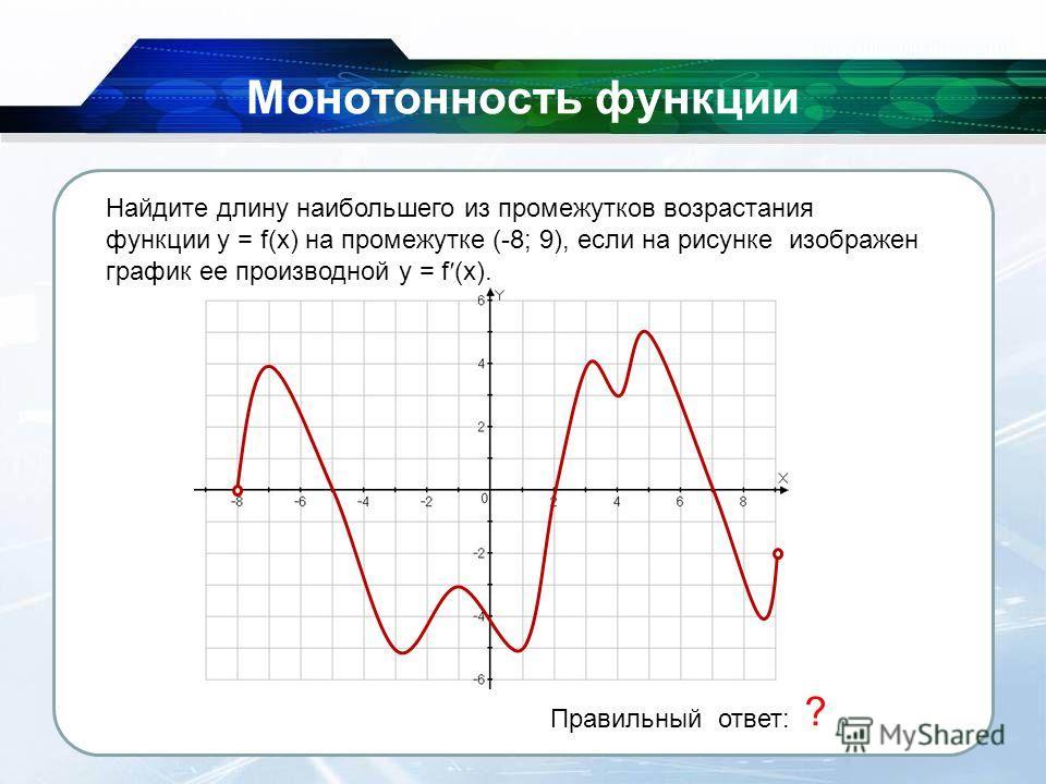 26.11.2013 Монотонность функции Правильный ответ: 5 ? Найдите длину наибольшего из промежутков возрастания функции y = f(x) на промежутке (-8; 9), если на рисунке изображен график ее производной y = f (x).