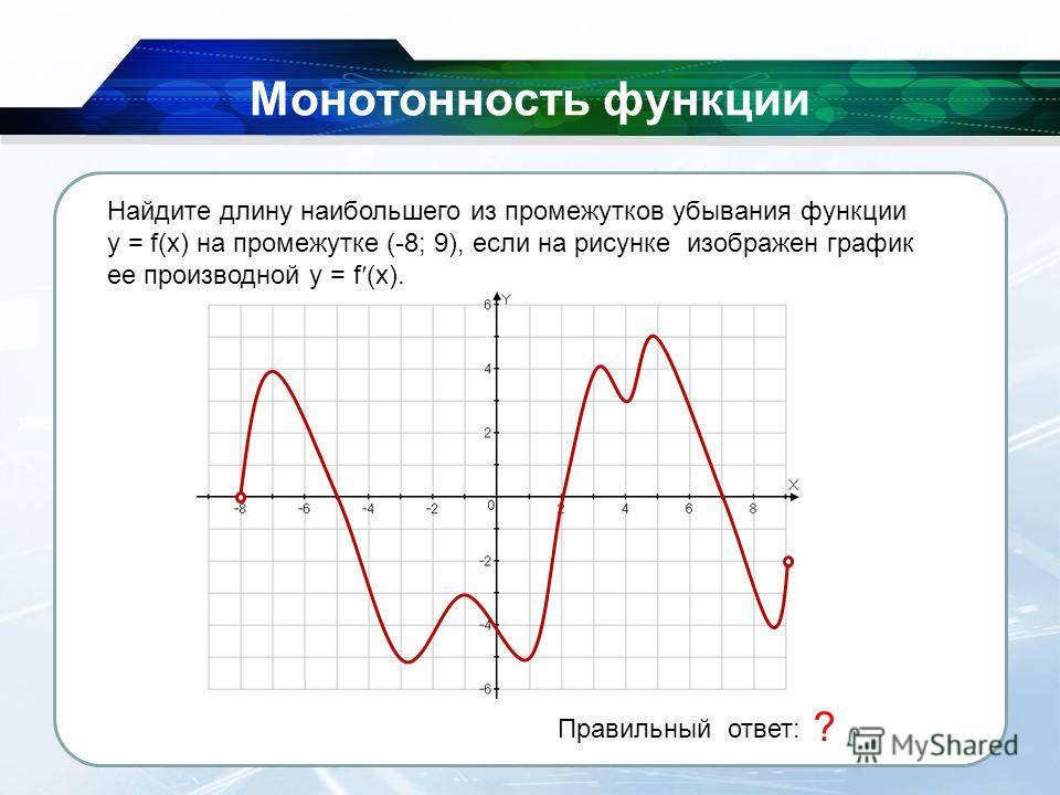 26.11.2013 Монотонность функции Правильный ответ: 7 ? Найдите длину наибольшего из промежутков убывания функции y = f(x) на промежутке (-8; 9), если на рисунке изображен график ее производной y = f (x).