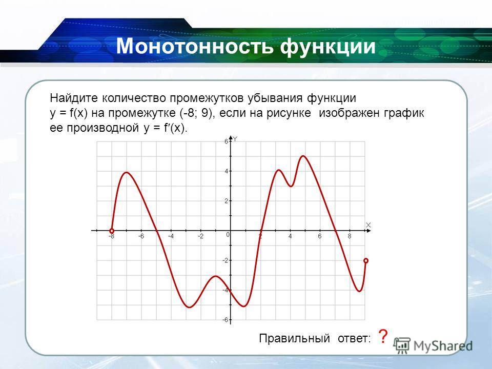 26.11.2013 Монотонность функции Правильный ответ: 2 ? Найдите количество промежутков убывания функции y = f(x) на промежутке (-8; 9), если на рисунке изображен график ее производной y = f (x).
