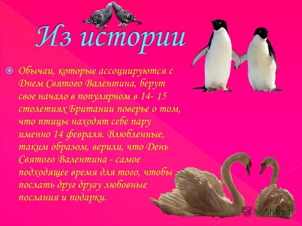 Обычаи, которые ассоциируются с Днем Святого Валентина, берут свое начало в популярном в 14- 15 столетиях Британии поверье о том, что птицы находят себе пару именно 14 февраля. Влюбленные, таким образом, верили, что День Святого Валентина - самое под