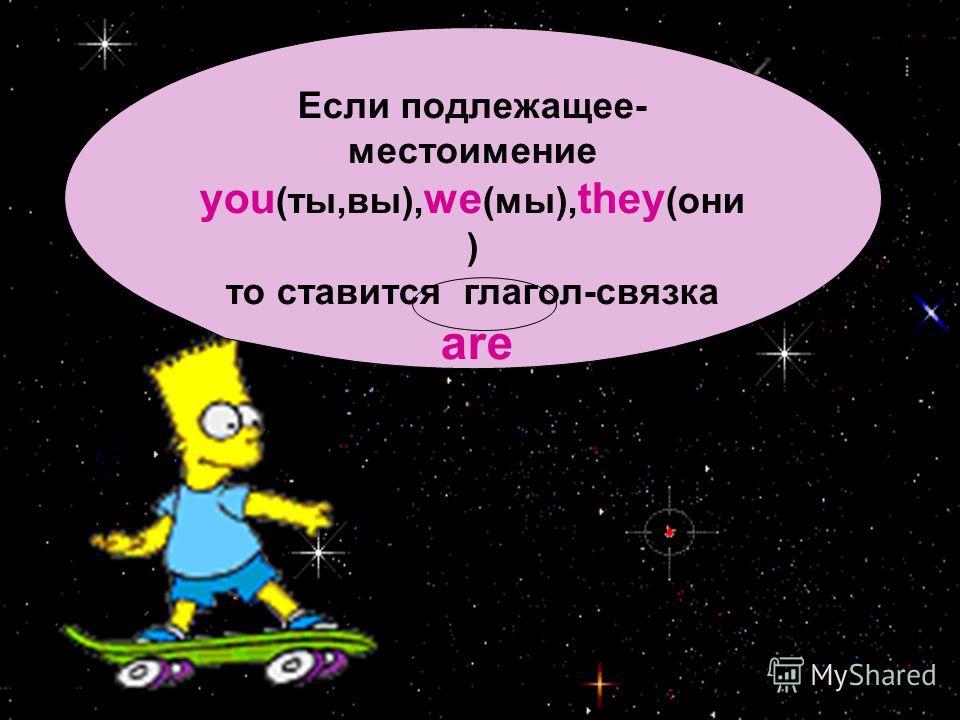 Если подлежащее- местоимение you (ты,вы), we (мы), they (они ) то ставится глагол-связка are