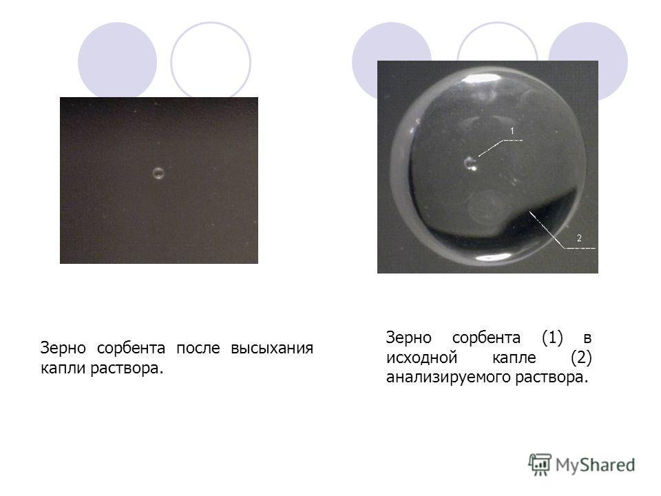 Зерно сорбента (1) в исходной капле (2) анализируемого раствора. Зерно сорбента после высыхания капли раствора.