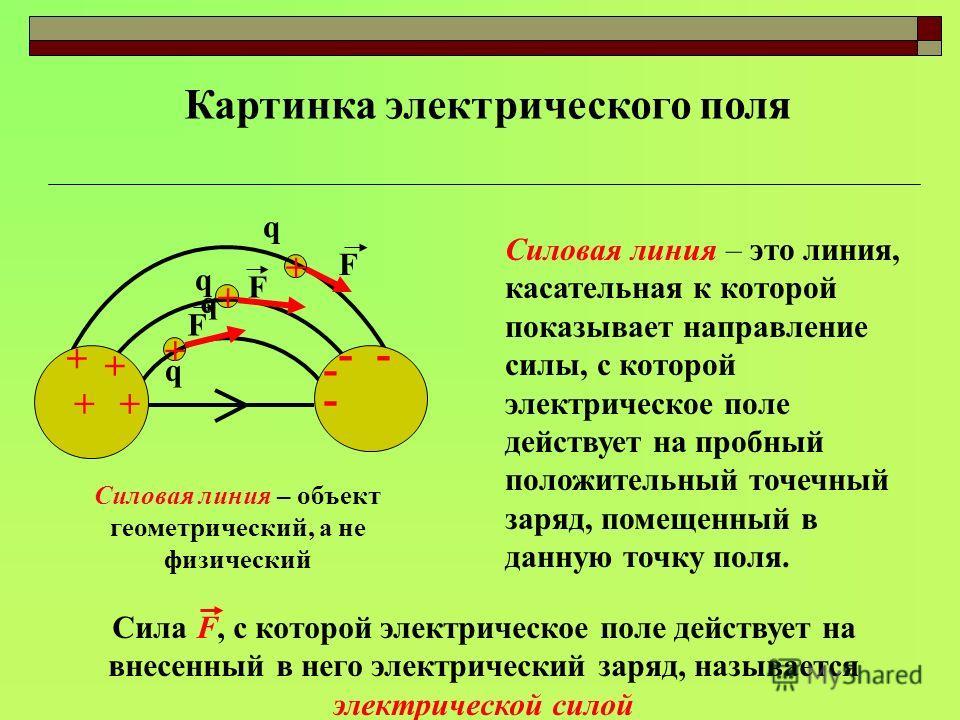 Картинка электрического поля + + ++ - - - - + + + Силовая линия – это линия, касательная к которой показывает направление силы, с которой электрическое поле действует на пробный положительный точечный заряд, помещенный в данную точку поля. Силовая ли