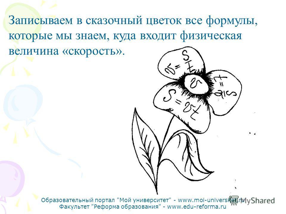 Образовательный портал Мой университет - www.moi-universitet.ru Факультет Реформа образования - www.edu-reforma.ru Записываем в сказочный цветок все формулы, которые мы знаем, куда входит физическая величина «скорость».
