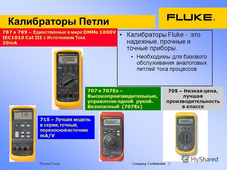 Process Tools Company Confidential 3 Калибраторы Петли Калибраторы Fluke - это надежные, прочные и точные приборы. Необходимы для базового обслуживания аналоговых петлей тока процессов 787 и 789 – Единственные в мире DMMs 1000V IEC1010 Cat III с Исто