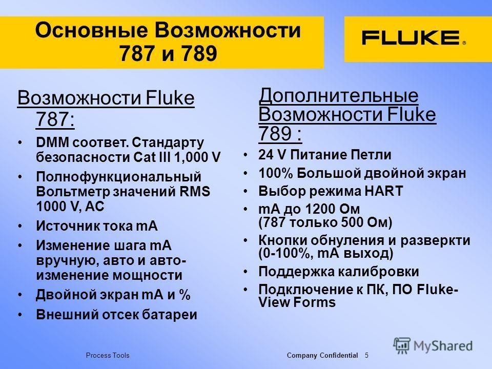 Process Tools Company Confidential 5 Основные Возможности 787 и 789 Дополнительные Возможности Fluke 789 : 24 V Питание Петли 100% Большой двойной экран Выбор режима HART mA до 1200 Ом (787 только 500 Ом) Кнопки обнуления и разверкти (0-100%, mA выхо