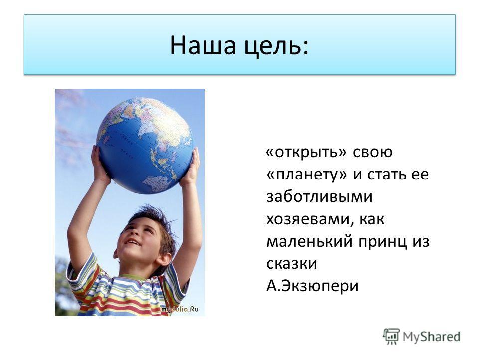 Наша цель: «открыть» свою «планету» и стать ее заботливыми хозяевами, как маленький принц из сказки А.Экзюпери