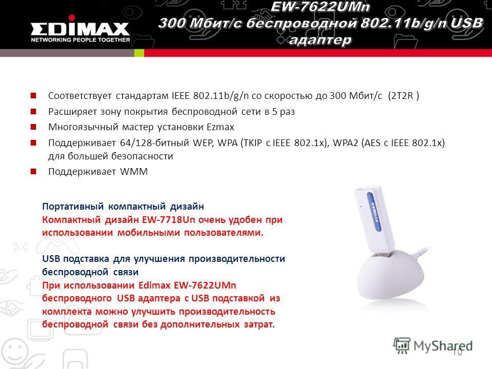 Соответствует стандартам IEEE 802.11b/g/n со скоростью до 300 Мбит/с (2T2R ) Расширяет зону покрытия беспроводной сети в 5 раз Многоязычный мастер установки Ezmax Поддерживает 64/128-битный WEP, WPA (TKIP с IEEE 802.1x), WPA2 (AES с IEEE 802.1x) для